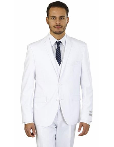 Men's Lorenzo Bruno Single Breasted 2 Buttons White Double Vents Suit