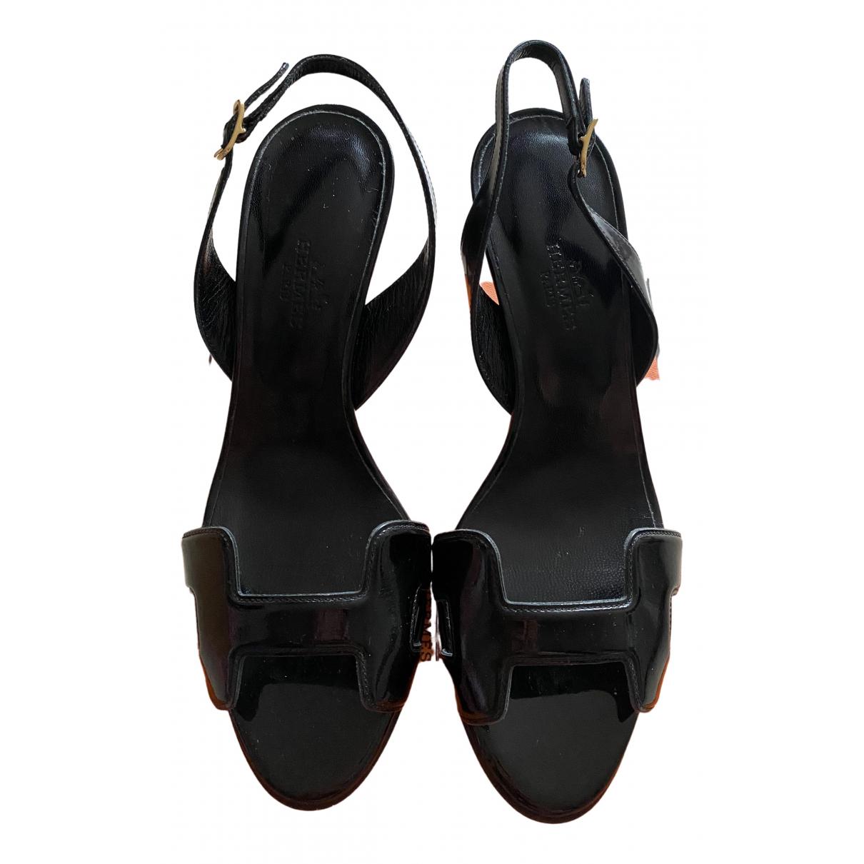 Hermès Night Black Leather Sandals for Women 36 EU