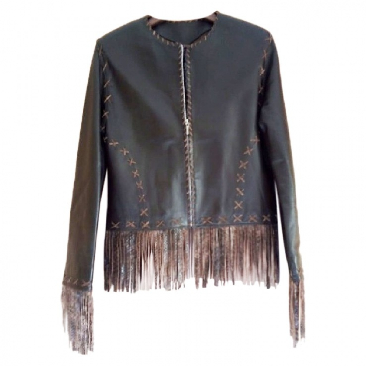 Non Signé / Unsigned \N Brown Leather Leather jacket for Women 40 FR