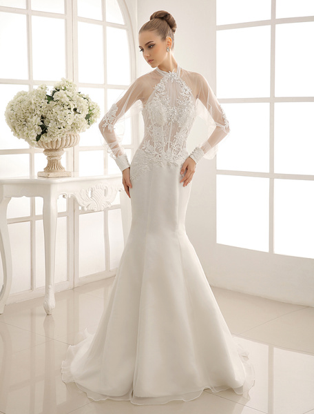 Milanoo Mermaid Wedding Gown With Halter Lace