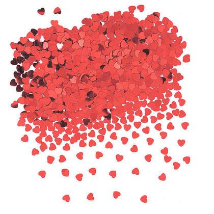 Valentine's Day Metallic Red Foil Heart Shape Table Confetti, 0.5oz