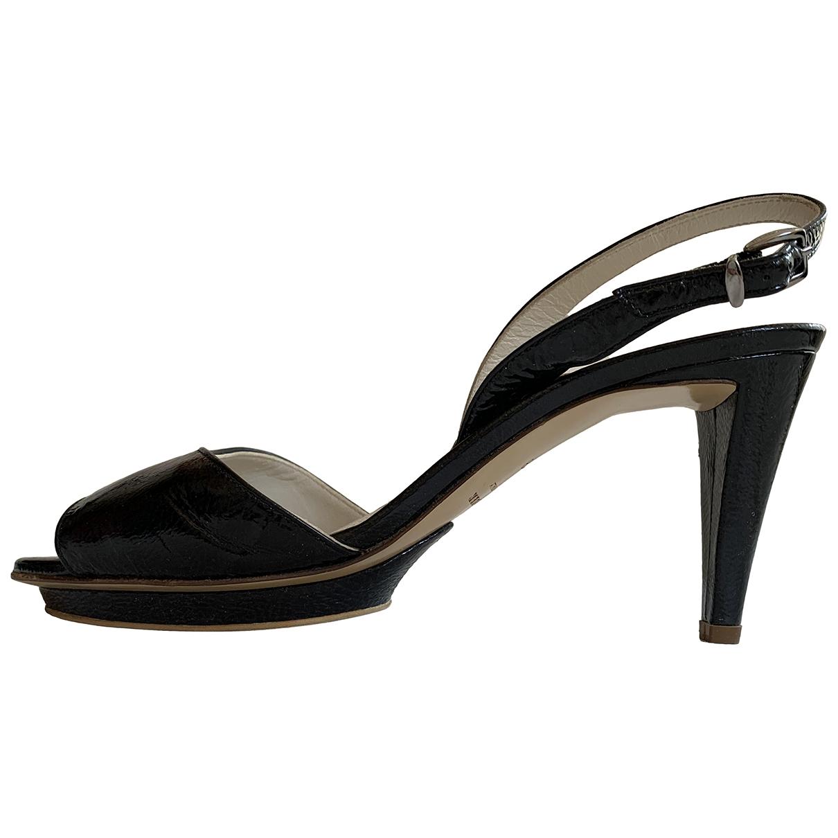 Jil Sander \N Black Patent leather Sandals for Women 38 EU