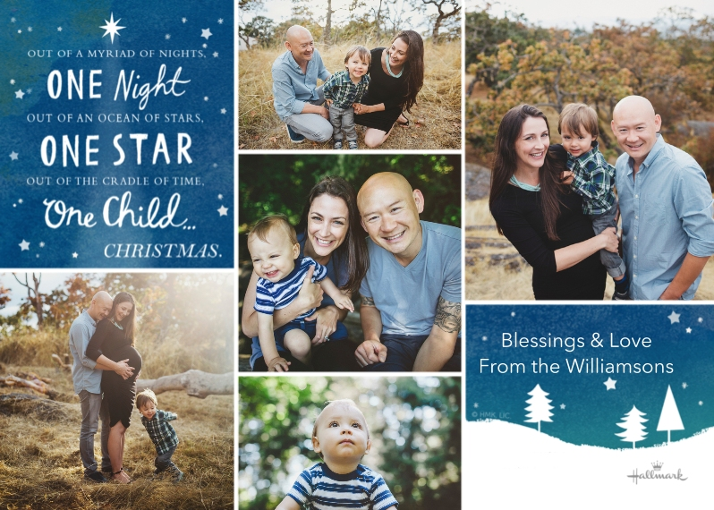 Religious Christmas Cards Flat Matte Photo Paper Cards with Envelopes, 5x7, Card & Stationery -One Night, One Star