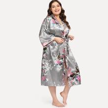 Plus Peacock & Floral Print Self Tie Robe