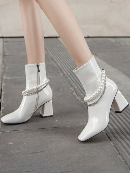 Milanoo Women Ankle Boots Black Cowhide Square Toe Metal Details Chunky Heel Pearls Booties