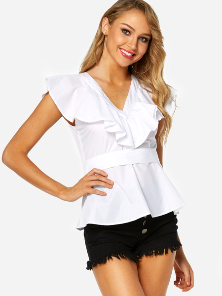 Yoins White Lace-up Design V-neck Short Sleeves Blouse