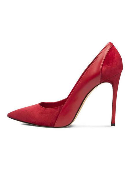 Milanoo Women High Heels Black Dress Shoes Suede Pointed Toe Slip On Pumps
