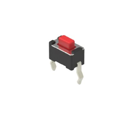 Alps Alpine Red Button Tactile Switch, Single Pole Single Throw (SPST) 50 mA 1.5mm Snap-In (10)