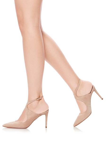 Milanoo Nude High Heels Suede Pointed Toe Slingbacks Strappy Pumps Women Dress Shoes