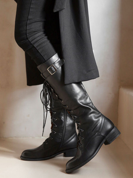 Milanoo Knee High Boots Womens Black Cowhide Lace Up Round Toe Puppy Heel Martin Boots