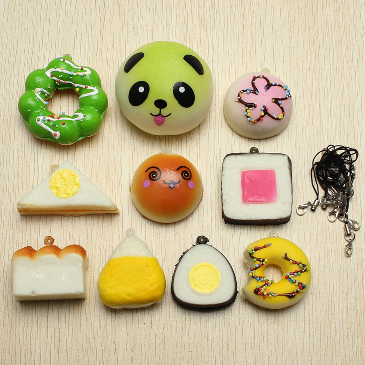 10Pcs Kawaii Squishy Soft Toy Sushi Panda Bread Cake Buns Phone Straps