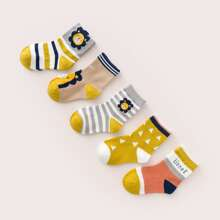 5pairs Toddler Boys Cartoon Graphic Socks