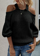 Cut Out Criss-Cross Cold Shoulder Knitted Sweater - Black