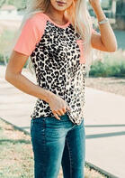 Leopard Splicing Pocket O-Neck T-Shirt Tee - Pink