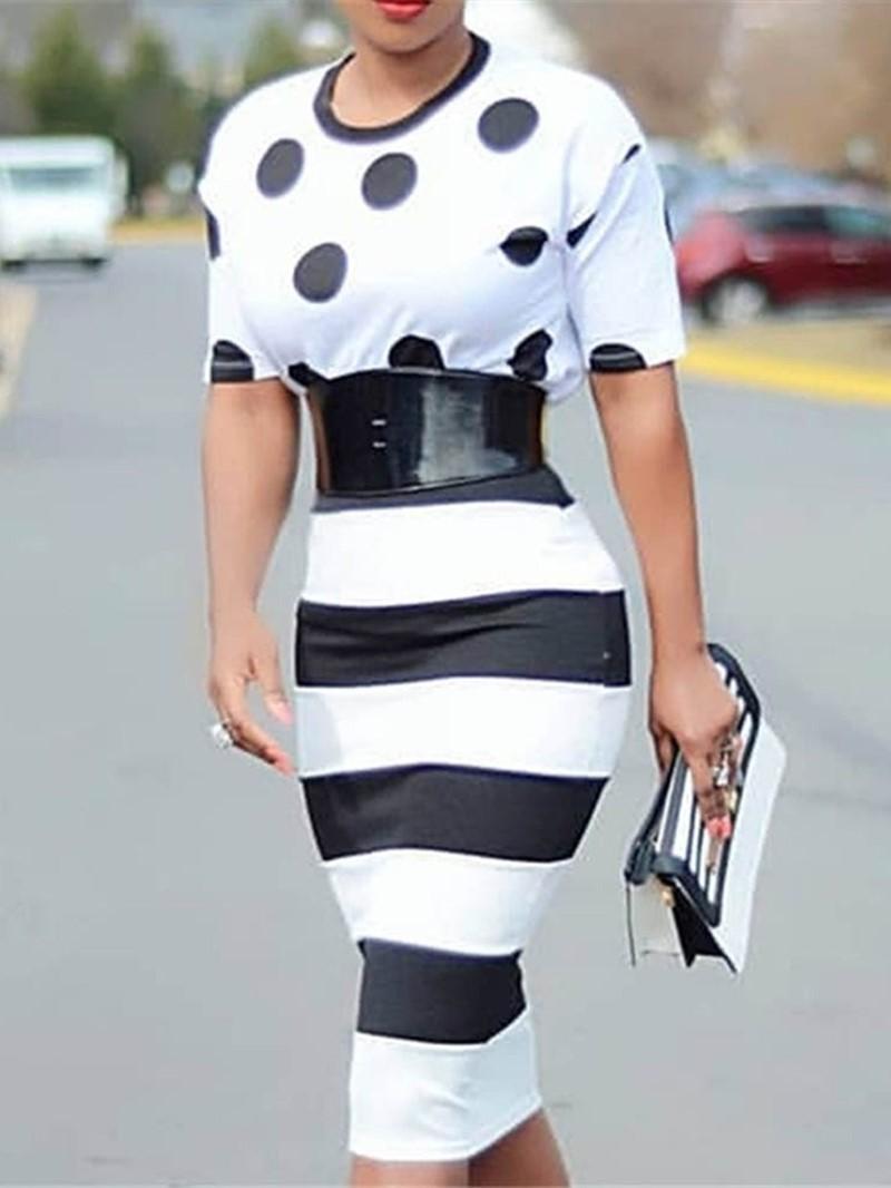 Ericdress Round Neck OL Stripe Polka Dots Fashion Dress(Without Waistband)