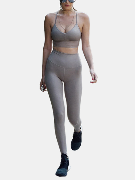 Yoins  Active Cut Out Quick Drying Criss-cross Design Elastic Tracksuit in Grey