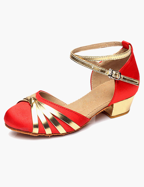 Milanoo Ankle Strap Satin Ballroom Shoes