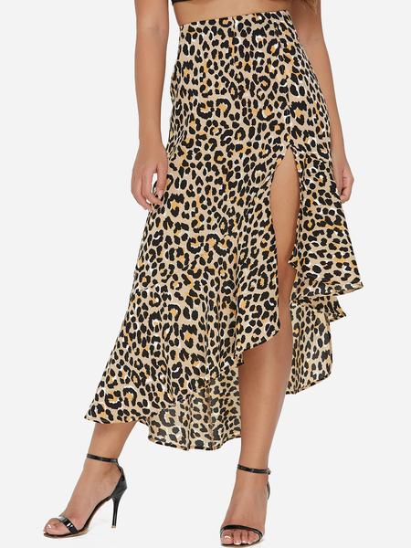 Yoins Leopard Pattern Slit Design Ruffle Hem Skirt