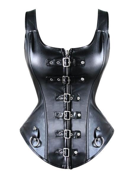 Milanoo Black Steampunk Bustier Metallic Rivet Women Retro Costume