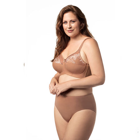 Elila Embroidered Microfiber Softcup Full Coverage Bra, A , Brown