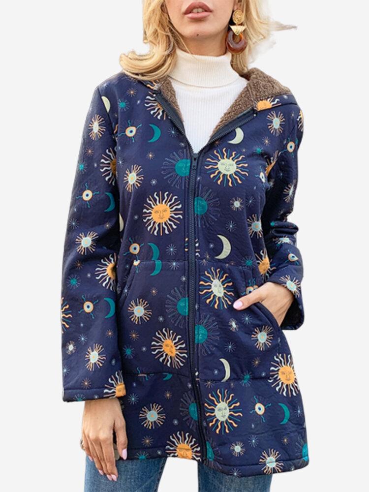 Casual Solor System Print Pockets Long Sleeve Plus Fleece Coat