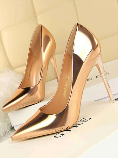 Milanoo Women High Heels Champagne Pointed Toe Slip On Pumps Dress Shoes