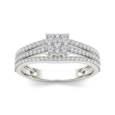 1/2 CT.T.W. Diamond 10K White Gold Engagement Ring, 7 , No Color Family