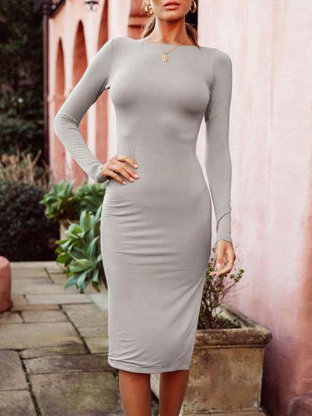Milanoo Bodycon Dresses Grey Long Sleeves Split Front Casual Jewel Neck Backless Midi Dress Sheath Dress