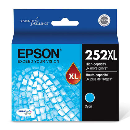 Epson 252XL T252XL220 Original Cyan Ink Cartridge High Yield
