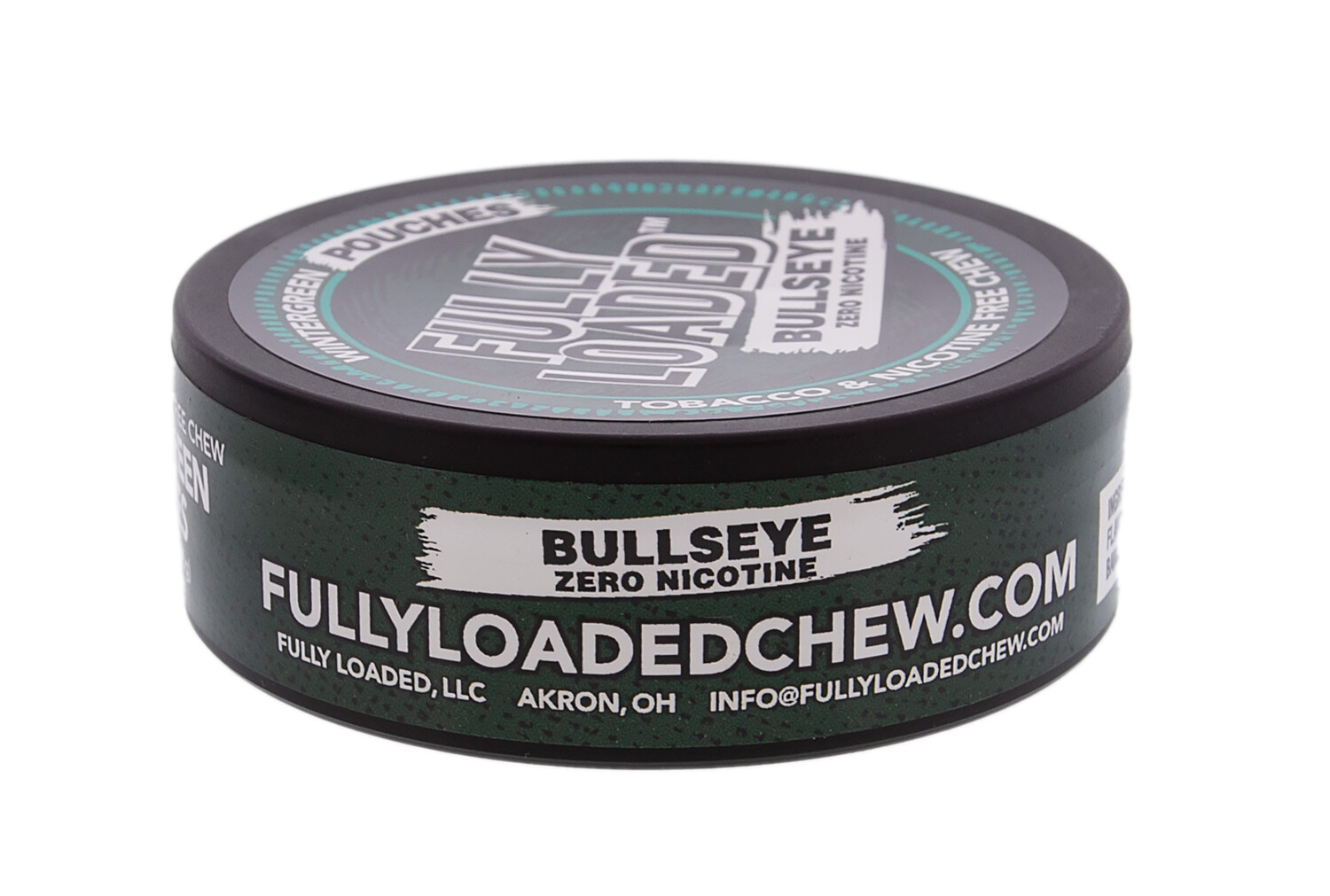 Fully Loaded Chew Tobacco and Nicotine Free Wintergreen Bullseye Pouches Refreshing Flavor, Chewing Alternative