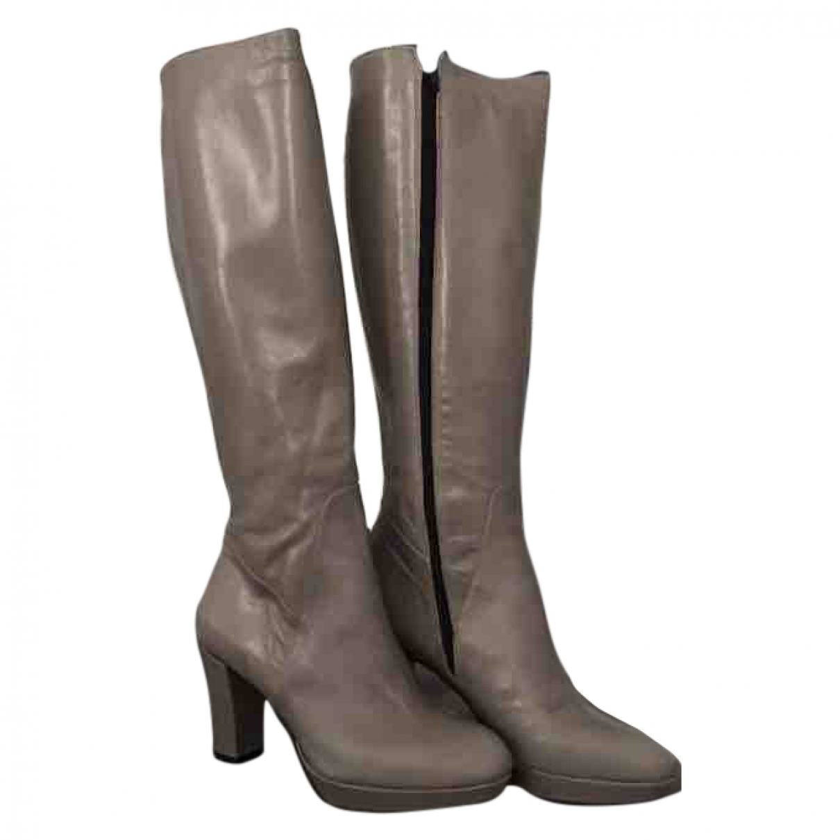 Non Signé / Unsigned \N Grey Leather Boots for Women 38 EU