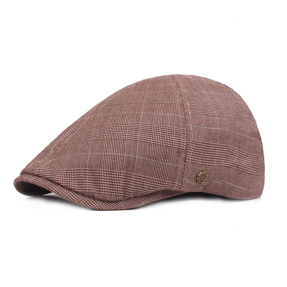 Men's Vintage Casual Beret Cap Breathable Lattice Cotton Cap Outdoors Hat