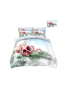 Reindeer Ornaments and Snow Printing Polyester 4-Piece 3D Bedding Sets/Duvet Covers