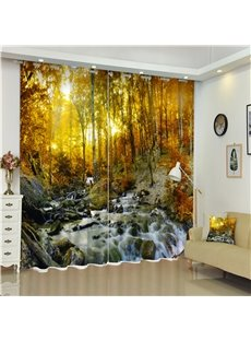 3D Flowing Water Mustard Yellow Leaves and Trees Printed Amazing Autumn 2 Panels Shading Curtain