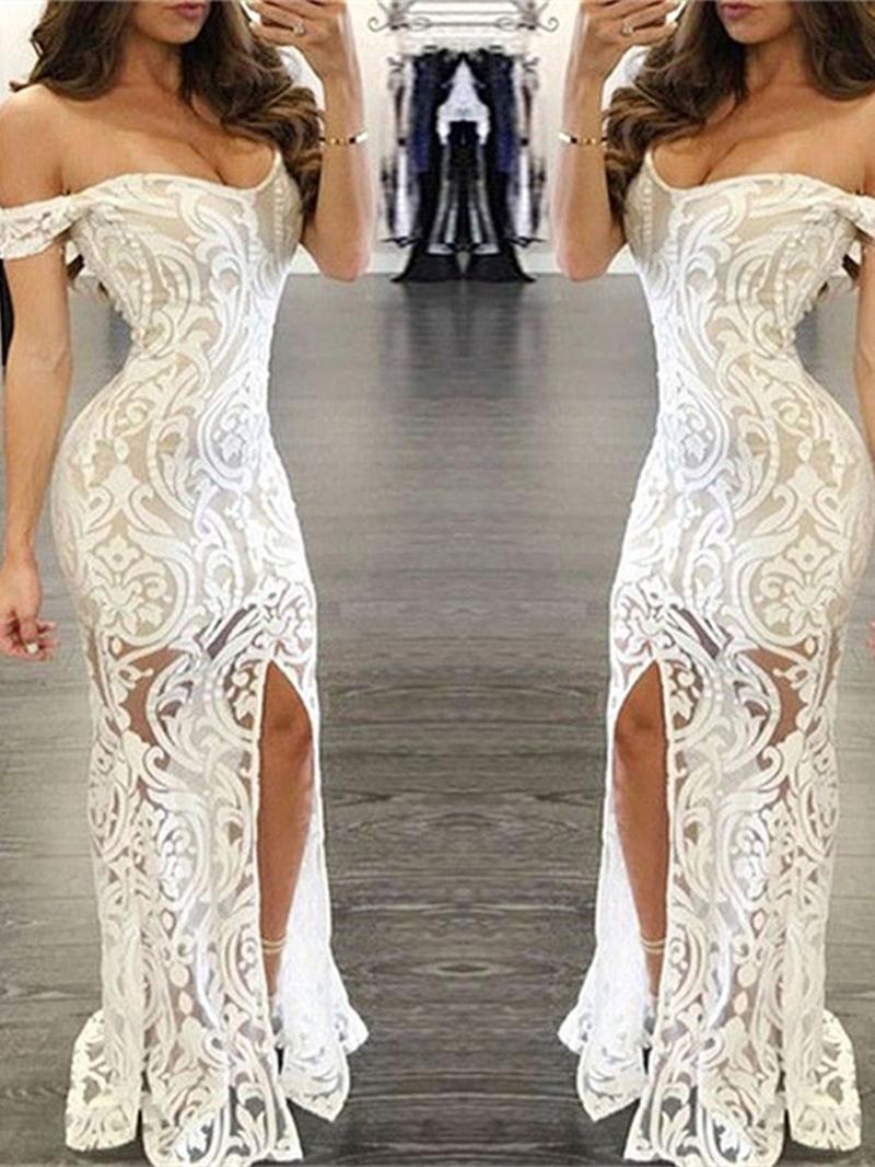 Ericdress Off-the-Shoulder Lace Split-Front Mermaid Evening Dress