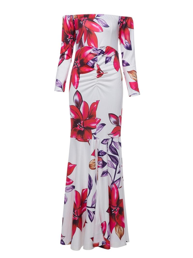 Ericdress Slash Neck Flower Print Backless Maxi Dress