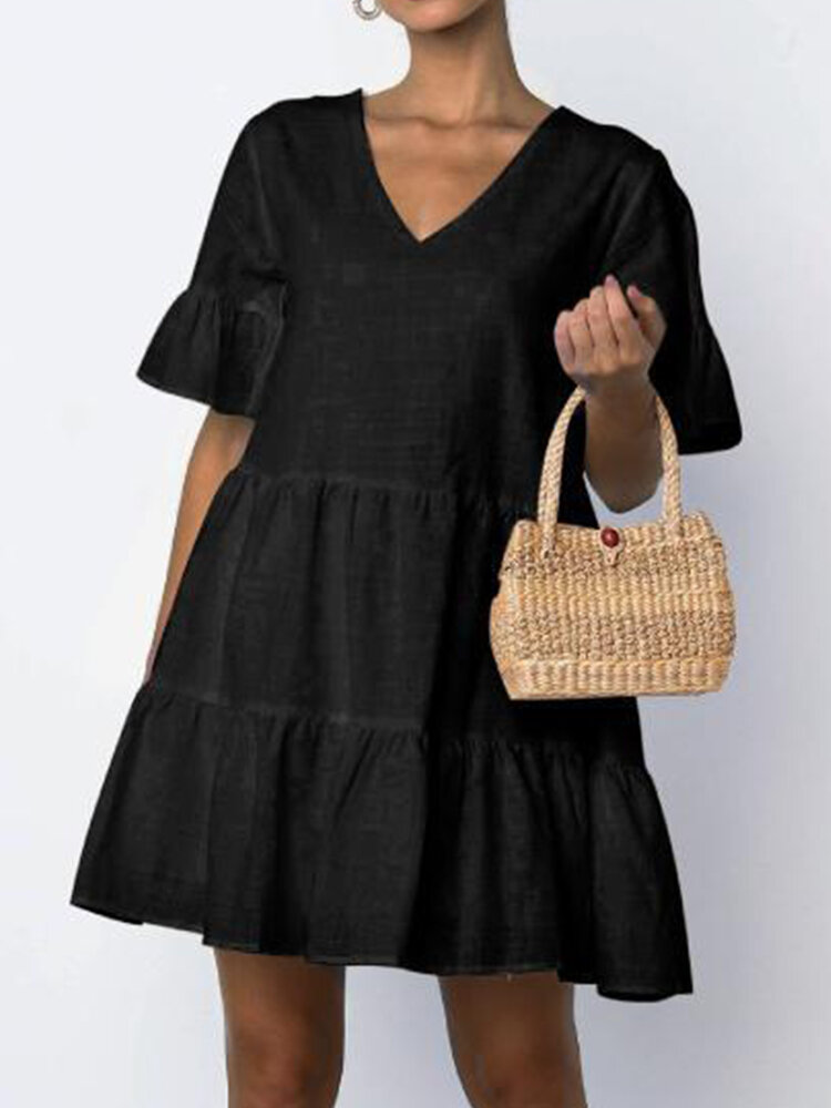 Solid Color Trumpet Sleeve V-neck Pleated Mini Dress