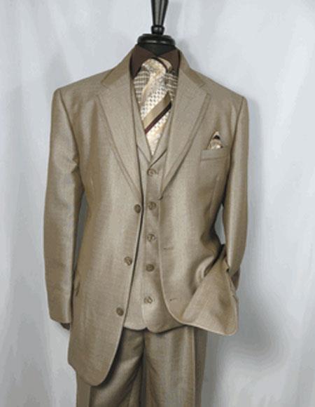 Men's Tan Notch Lapel Single Breasted 3 Button Sharkskin Suit