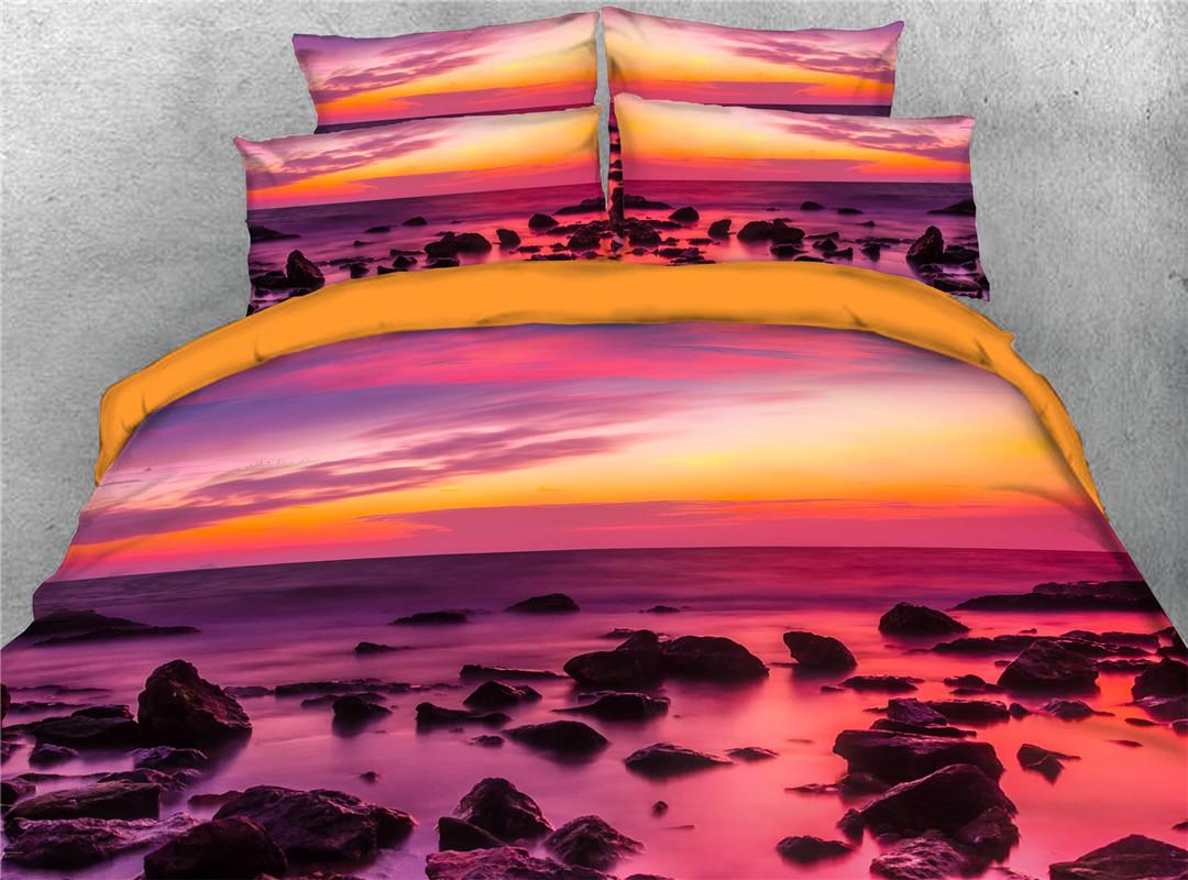 Sunset Scenery Duvet Cover Set Hand Wash Four-Piece Set Polyester Bedding Sets Endurable Skin-friendly