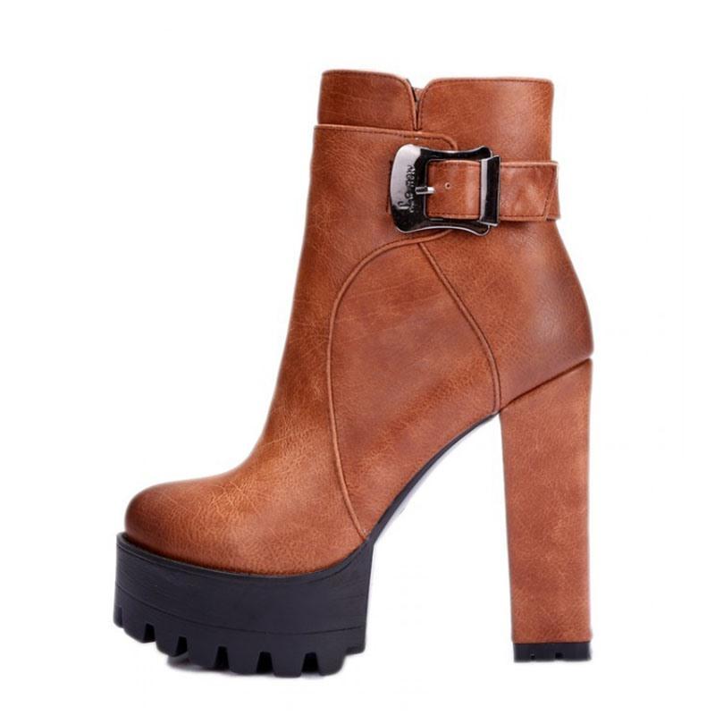 Ericdress Round Toe Platform Chunky Heel Side Zipper Women's Ankle Boots