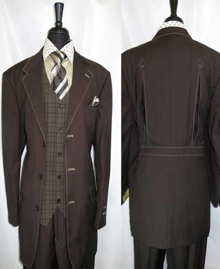 Men's Trimmed Single Vest 3 Button Brown Notch Lapel Belted Back Suit