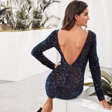 Backless Sequin Bodycon Dress