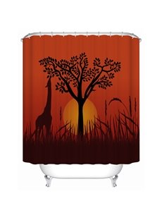 Giraffe&Sunset Pattern Polyester Material Waterproof Mildew Resistant Shower Curtain
