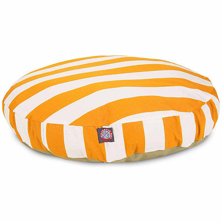 Majestic Pet Vertical Stripe Round Pet Bed, One Size , Brown