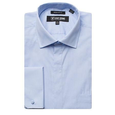 Stacy Adams Mens Point Collar Long Sleeve Dress Shirt, 15.5 32-33, Blue