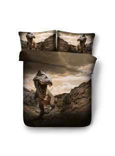 Dinosaur Opens Mouth 3D Printing Polyester 4-Piece Bedding Sets/Duvet Cover