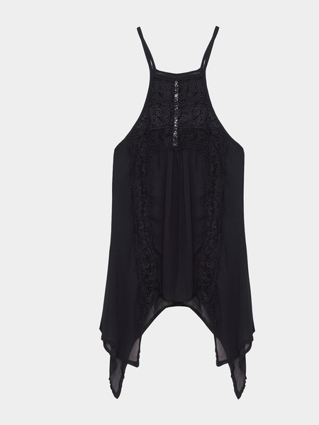 Yoins Sheer Black Sexy Hollow Lace Insert Cami