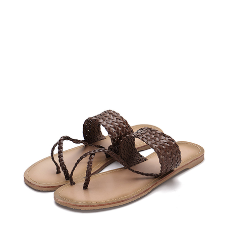 Yoins Brown Woven Strap Toe Post Fashion Style Flat Slippers