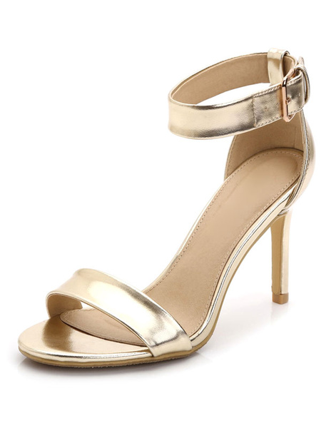 Milanoo High Heel Sandals Womens Open Toe Ankle Strap Stiletto Heel Sandals