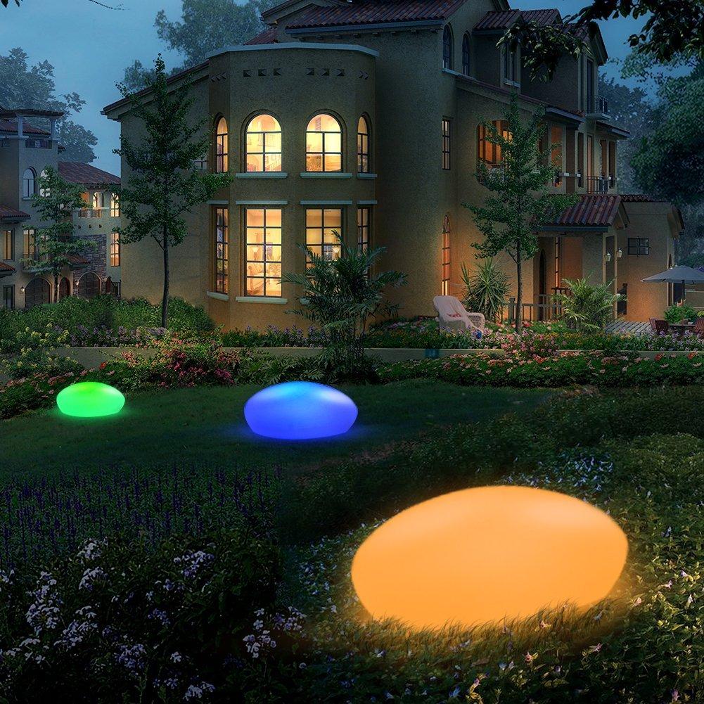 Solar Glow Cobblestone Shape Garden Decor Light Outdoor RGB Lawn Light with Remote